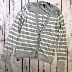 Express Gray White Striped Rhinestone Cardigan